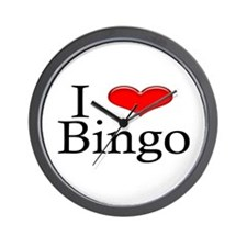 I Heart Bingo Wall Clock