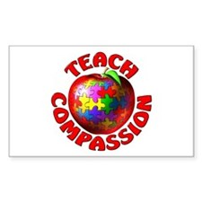 Teach Compassion Rectangle Stickers