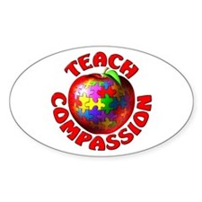 Teach Compassion Oval Sticker (10 pk)