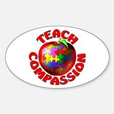 Teach Compassion Oval Stickers