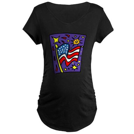 American Flag and Fireworks Maternity Dark T-Shirt