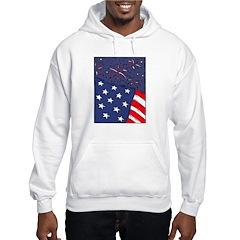 American Flag and Fireworks Hoodie