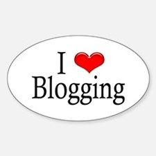 I Heart Blogging Oval Decal