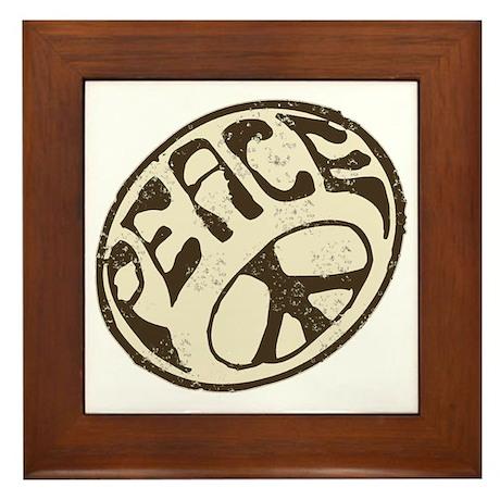 Retro Vintage Peace Sign Framed Tile