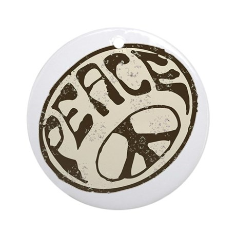Retro Vintage Peace Sign Ornament (Round)