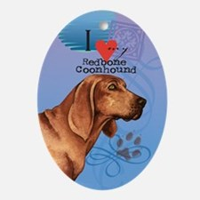 Redbone Coonhound Oval Ornament