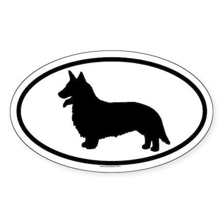 CORGI-CARDIGAN Oval Sticker (10 pk)