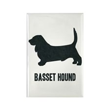 Silhouette - Basset Hound Rectangle Magnet