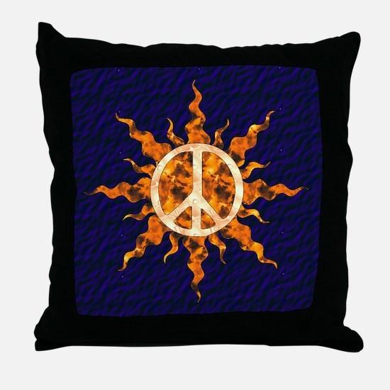 Flaming Peace Sun Throw Pillow