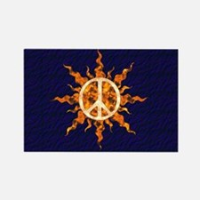 Flaming Peace Sun Rectangle Magnet (10 pack)