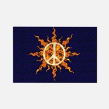 Flaming Peace Sun Rectangle Magnet