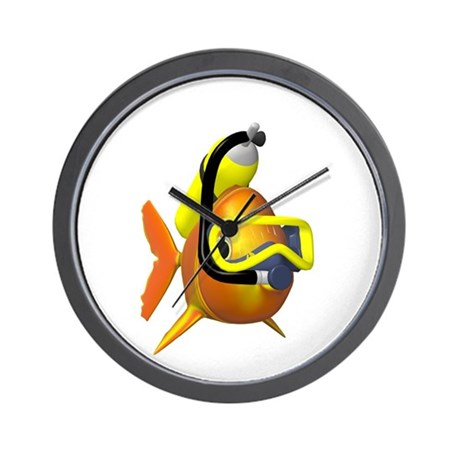Scuba fish wall clock by shoptillyourock for Fish wall clock