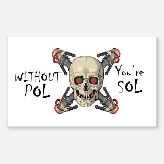 POL SOL Skull n' Bones Rectangle Sticker 10 pk)