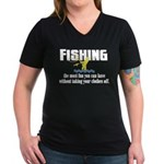 Fishing Fun Women's V-Neck Dark T-Shirt