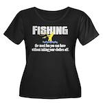 Fishing Fun Women's Plus Size Scoop Neck Dark T-Sh
