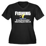Fishing Fun Women's Plus Size V-Neck Dark T-Shirt