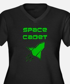 Space Cadet Women's Plus Size V-Neck Dark T-Shirt