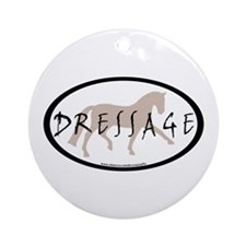 Trot Oval Brush Text (taupe) Ornament (Round)