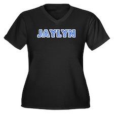 Retro Jaylyn (Blue) Women's Plus Size V-Neck Dark