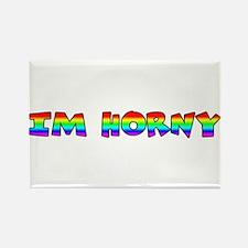 RAINBOW PRIDE IM HORNY Rectangle Magnet