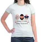 Peace Love Police Officer Jr. Ringer T-Shirt