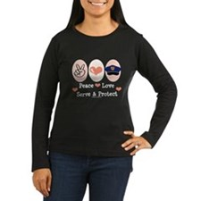 Peace Love Police Officer Long Sleeve T shirt