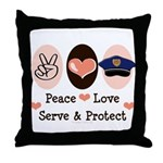 Peace Love Police Officer Throw Pillow