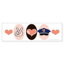 Peace Love Police Officer Bumper Bumper Sticker