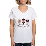 Peace Love Police Officer Women's V-Neck T-Shirt