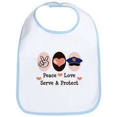 Peace Love Police Officer Bib