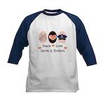 Peace Love Police Officer Kids Baseball Jersey