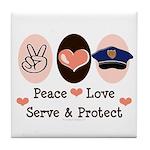 Peace Love Police Officer Tile Coaster