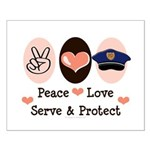 Peace Love Police Officer Small Poster