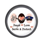 Peace Love Police Officer Wall Clock