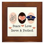 Peace Love Police Officer Framed Tile