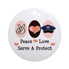 Peace Love Police Officer Ornament (Round)