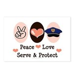 Peace Love Police Officer Postcards (Package of 8)