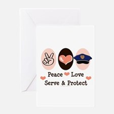 Peace Love Police Officer Greeting Card