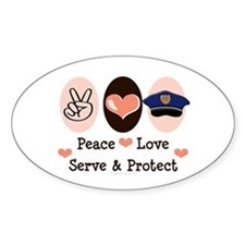 Peace Love Police Officer Oval Decal