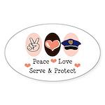 Peace Love Police Officer Oval Sticker
