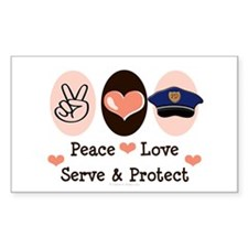 Peace Love Police Officer Rectangle Decal