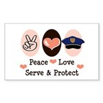 Peace Love Police Officer Rectangle Sticker