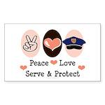 Peace Love Police Officer Rectangle Sticker 10 pk