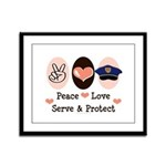 Peace Love Police Officer Framed Panel Print