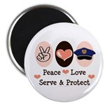 Peace Love Police Officer Magnet