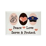 Peace Love Police Officer Rectangle Magnet