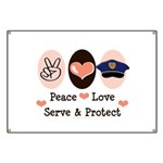 Peace Love Police Officer Banner