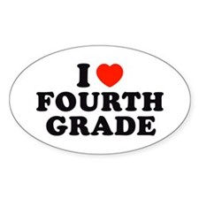 I Heart/Love Fourth Grade Oval Decal