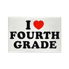 I Heart/Love Fourth Grade Rectangle Magnet