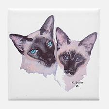 Siamese - 2 (white background) Tile Coaster